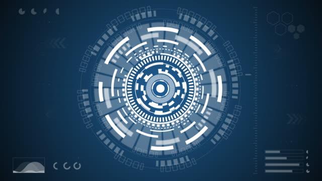 vídeos de stock e filmes b-roll de blue digital eye technology concept animation - formato bidimensional