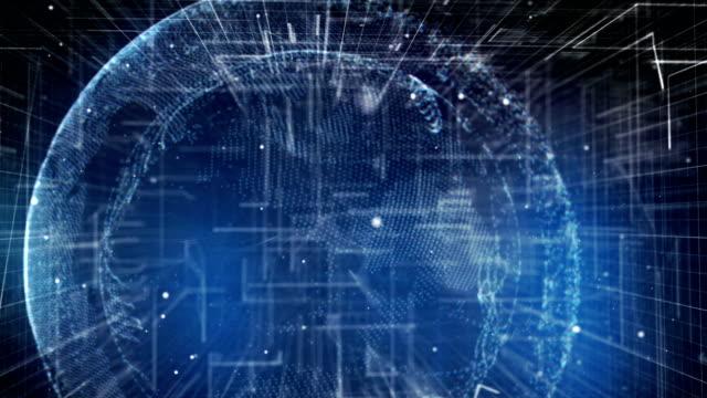 Blue digital planet made of data