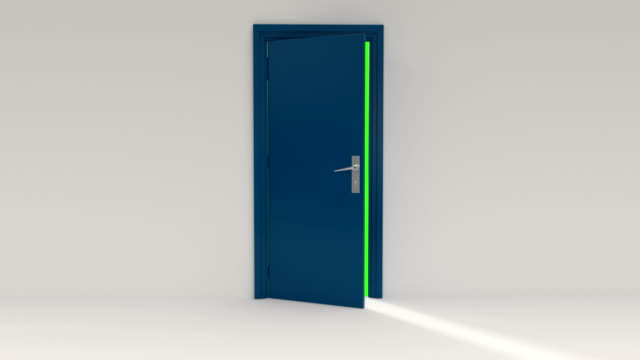 blue door opening with alpha channel and green screen - open stock videos & royalty-free footage