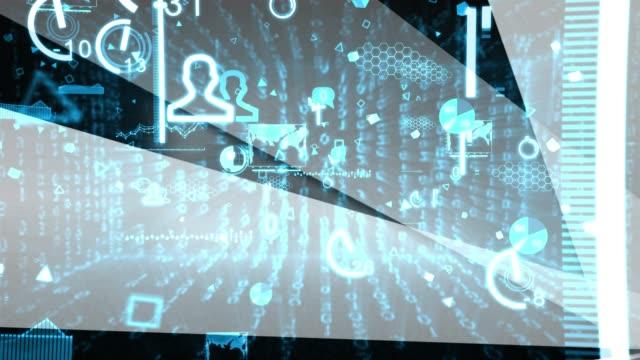 vídeos de stock, filmes e b-roll de comércio eletrônico azul dados digitais internet mercado meios de comunicação social - vendor