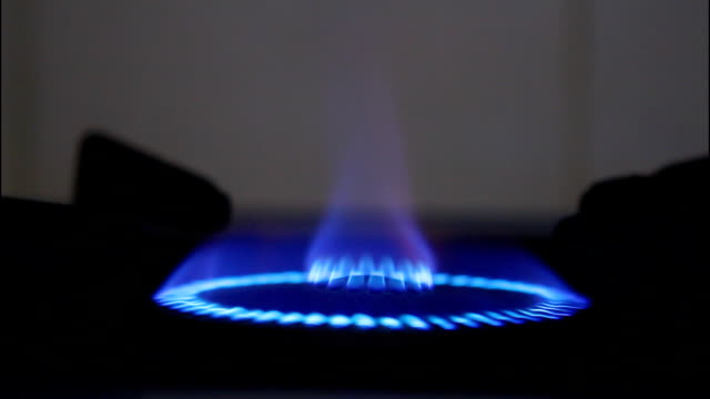 Blue flames of gas.