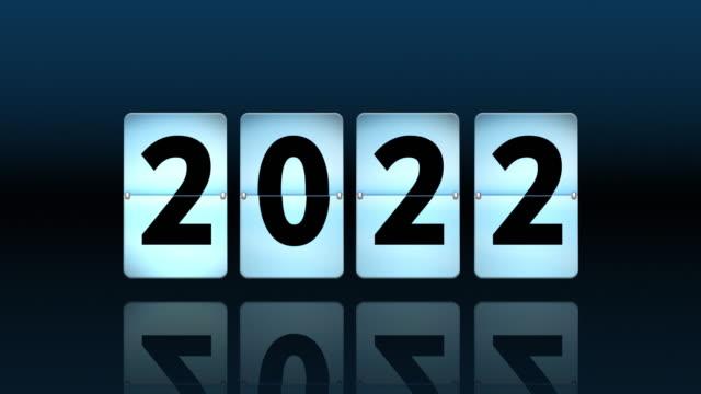 vídeos de stock, filmes e b-roll de contagem regressiva azul do pulso de disparo da aleta. voltando-se para 2022 - passe de bola