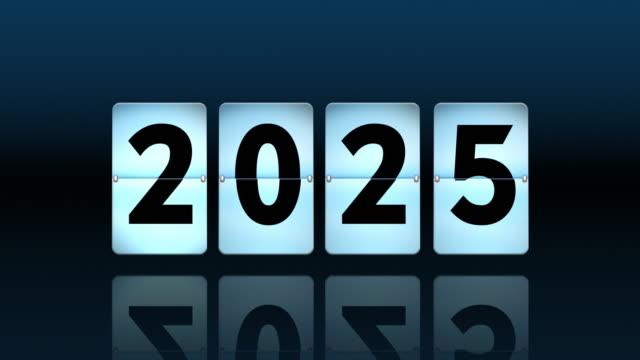 blue flip clock countdown. turning to 2025 - digital clock stock videos & royalty-free footage