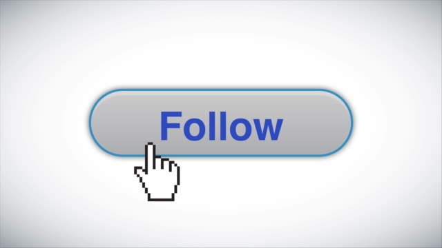 blue follow web interface button clicked with mouse cursor 4k stock video - cursor stock videos & royalty-free footage