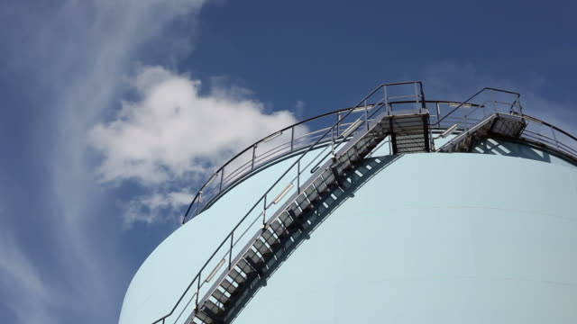 blue fuel storage tank - treppe stock videos and b-roll footage