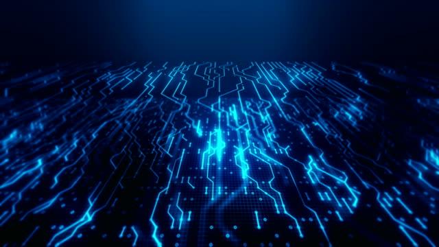 vídeos de stock, filmes e b-roll de placa de circuito futurista azul com fundo loopable da tecnologia dos dados - placa mãe