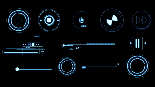 HD: Blue Futuristic Interface Elements