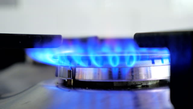 Blue gas stove close-up