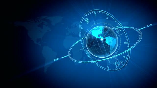 vídeos de stock e filmes b-roll de azul globo e relógio - estátua de atlas