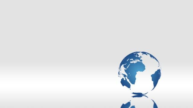 白い背景の回転青のグローブ - 地理的地域 国点の映像素材/bロール