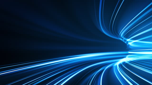 blue high speed light streaks background - abstract, data transfer, bandwidth - loopable - tunnel stock videos & royalty-free footage