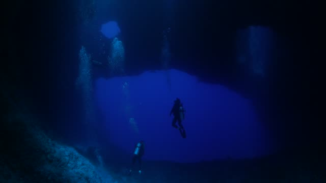 blue hole: undersea cavern, palau - deep stock videos & royalty-free footage