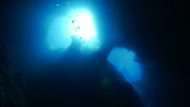 vídeos de stock e filmes b-roll de blue hole: underwater cavern, palau - gruta