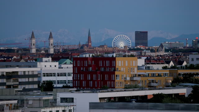 blue hour munich city views - wop productions stock-videos und b-roll-filmmaterial