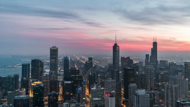 t/l ha td blue hour over chicago, sunset to night transition / illinois, us - chicago illinois stock videos & royalty-free footage