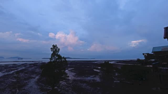blue hour to night timelapse ko lanta krabi province thailand - low tide stock videos & royalty-free footage