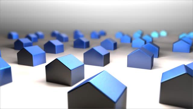 3 D azul con una carcasa concepto simple glass house