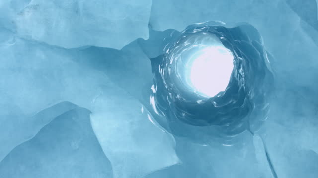 Blue ice tunnel in Alaska