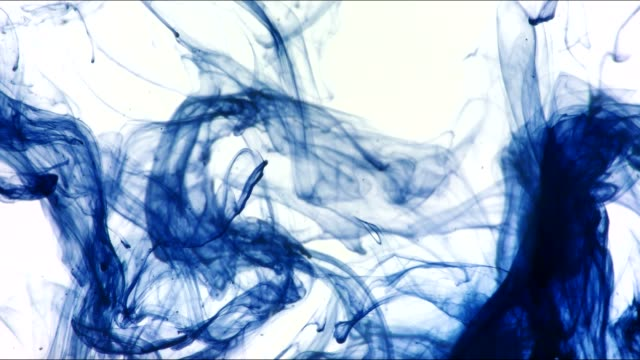 blue ink drops slowly swirl in water. - changing form stock videos & royalty-free footage