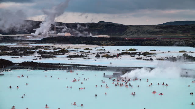 blue lagoon geothermal pools - iceland - hot spring stock videos & royalty-free footage