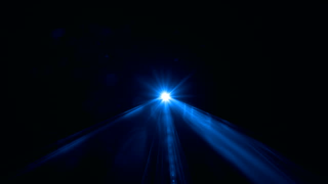 Blue Laser Light Scanning Through Camera On Black Background In 4K Resolution