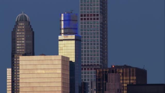 Blue LED Display on a Skyscraper Near Central Park
