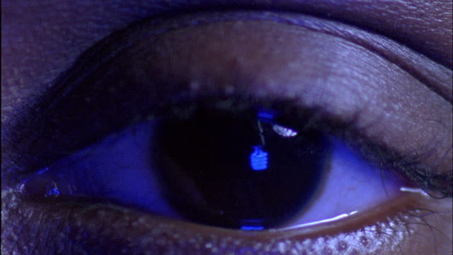 a blue light shines in a human eye. - iris plant stock videos and b-roll footage