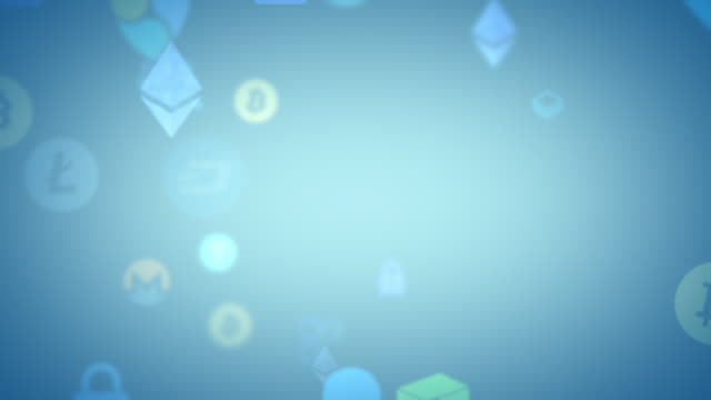 Blue looping cryptocurrencies security animation