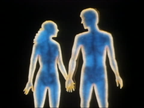 1985 ANIMATION Blue male and female figures holding hands / turning red + moving toward kiss
