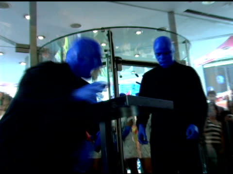 Blue Man Group performs at the Introduction of 'Swatch Blue' by Blue Man Group at Swatch Times Square Store in New York New York on August 17 2006