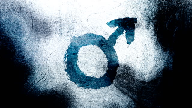 blue mars, male, gender symbol on a high contrasted grungy and dirty, animated, distressed and smudged 4k video background with swirls and frame by frame motion feel with street style for the concepts of gender equality, women-social issues - gender symbol stock videos and b-roll footage