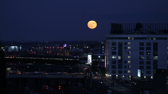 blue moon over the city - queens new york city stock videos & royalty-free footage