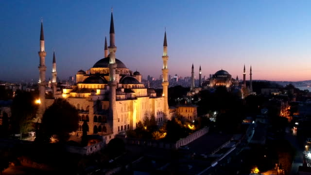 blue mosque and hagia sophia before sunrise - istanbul stock videos & royalty-free footage