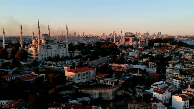 blue mosque and the church of hagia sophia - turchia video stock e b–roll