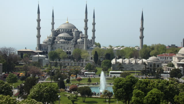 t/l ws ha blue mosque from hagia sophia, istanbul, turkey - blue mosque stock videos & royalty-free footage