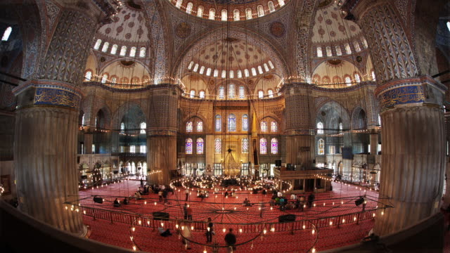 t/l ws blue mosque illuminated interior, istanbul, turkey - ornate stock videos and b-roll footage
