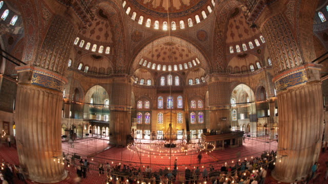 T/L WS HA Blue Mosque illuminated interior, Istanbul, Turkey