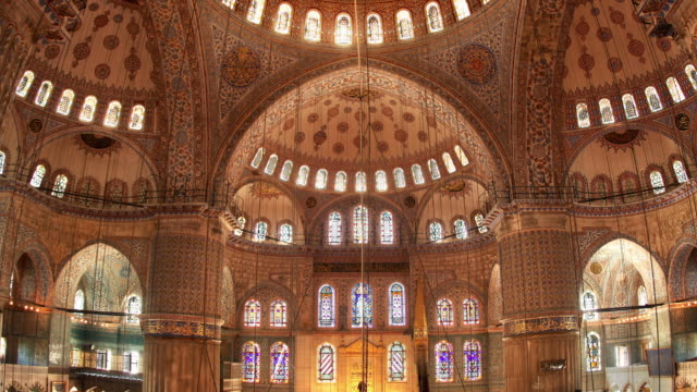 t/l cu zo la blue mosque illuminated interior, istanbul, turkey - blue mosque stock videos & royalty-free footage