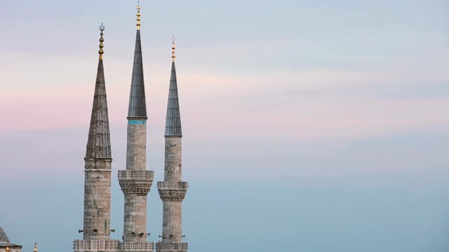 blue mosque in istanbul - sultan ahmet camii - minaret stock videos & royalty-free footage