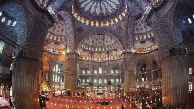 t/l ws la blue mosque interior, istanbul, turkey - blue mosque stock videos & royalty-free footage