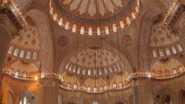 T/L CU ZO WS LA Blue Mosque interior with ornate dome, Istanbul, Turkey