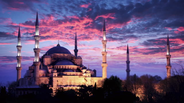 blue mosque timelapse at dusk, istanbul, turkey - byzantine stock videos & royalty-free footage