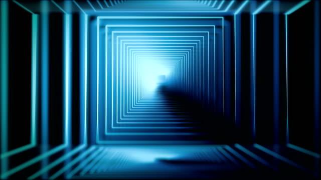 vídeos y material grabado en eventos de stock de blue neon - detalle arquitectónico exterior