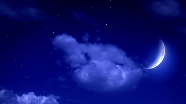 blue night sky with moon - crescent stock videos & royalty-free footage