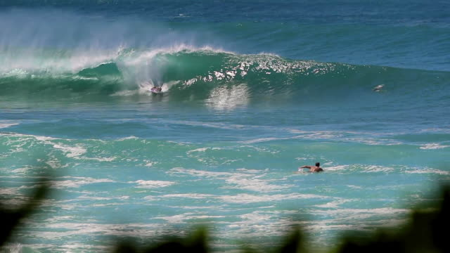 vídeos de stock, filmes e b-roll de blue ocean in hawaii with bodyboarder catching a wave & surfer paddling out - pipeline wave