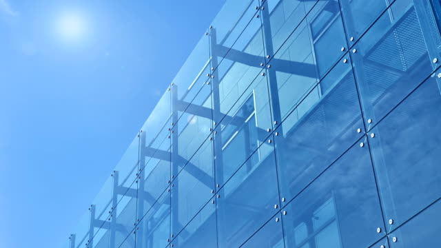 blue office building - building exterior stock videos & royalty-free footage
