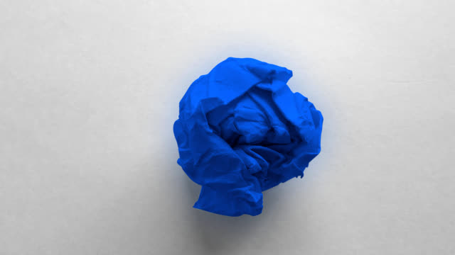 blue paper ball wrinkled - crumpled paper stock videos and b-roll footage