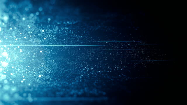 blue particles moving horizontally - loop - luminosità video stock e b–roll