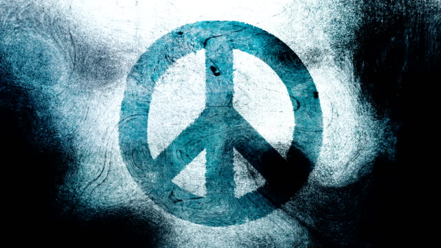 Blue peace symbol on a high contrasted grungy and dirty, animated, distressed and smudged 4k video background with swirls and frame by frame motion feel with street style for the concepts of peace, world peace, no war, protest, and tranquility