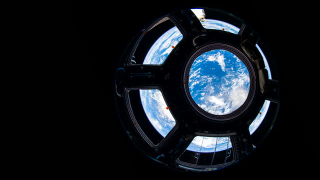 Blue planet Earth rotation viewed from cupola at the International Space Station (ISS)